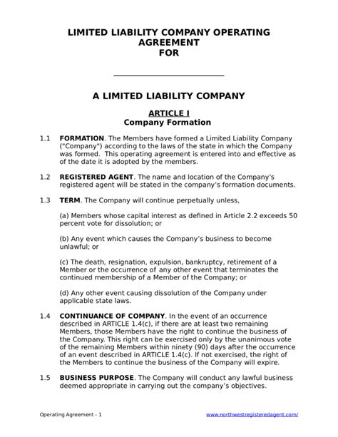 Free Llc Operating Agreement For A Limited Liability Company Operating Agreement For Single Member Llc Template