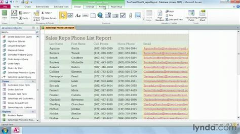 tutorial video access how to format reports in access lynda com tutorial youtube