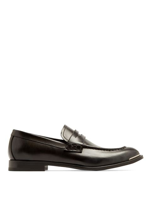 Mcqueenleather Loafers lyst mcqueen leather loafers in black