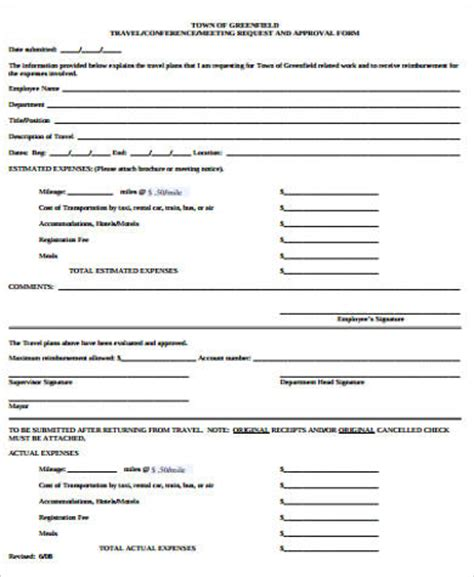 sample travel request form  examples  word