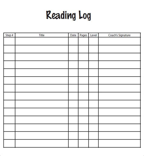 reading log template 9 download free pdf doc