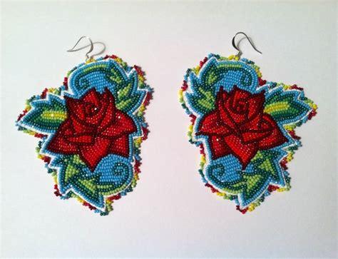 beadwork rose turquoise beaded earrings beadwork