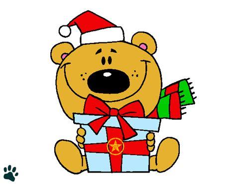 osito de peluche con regalo dibujos de navidad dibujo de el osito y su regalo pintado por carmen mg en
