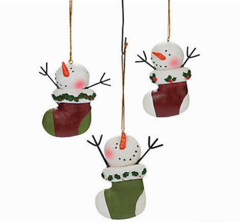 12 snowman in stocking christmas tree ornaments resin
