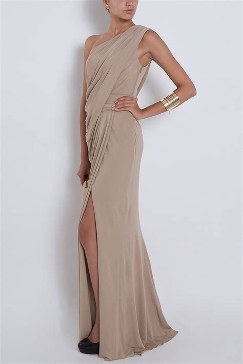 draped gowns lyst elie saab one shoulder draped gown in natural