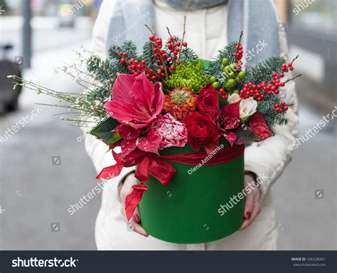 christmas hat floral beautiful floral arrangement hat box stock photo 546328261