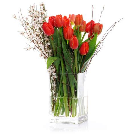 vaso di vetro consegna tulipani in vaso di vetro composizione
