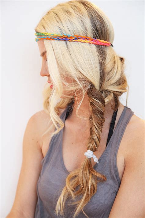 elastic hair band hairstyles neon headband tie dye yarn hair band boho style elastic