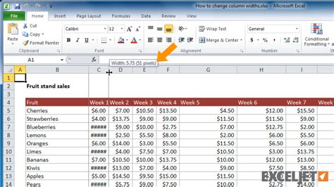 Excel Tutorial How To Change Column Widths In Excel Change Table Width