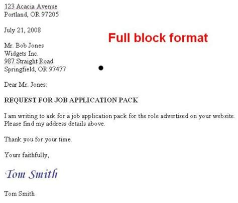 Block Style Business Letter With Subject Line block letter layout with subject line format
