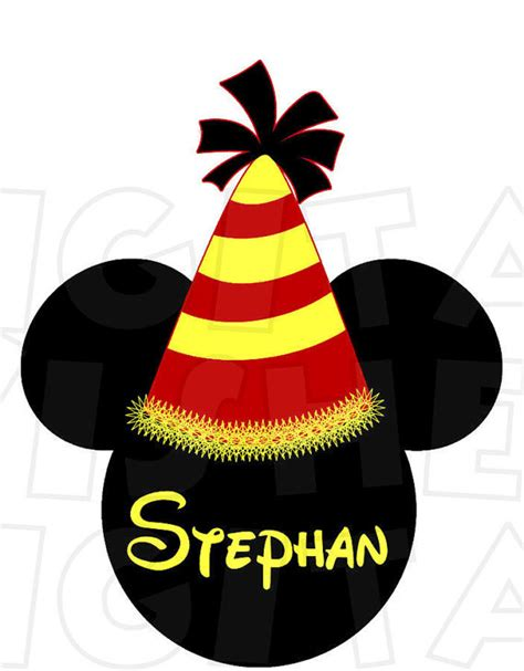 mickey mouse birthday hat head ears digital iron on transfer