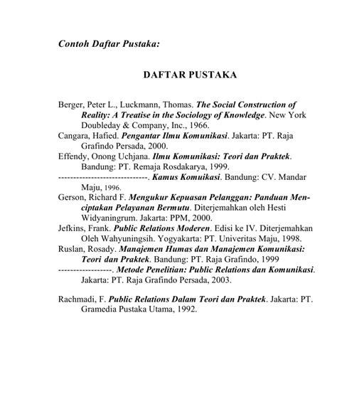 format penulisan daftar pustaka untuk skripsi contoh daftar pustaka skripsi