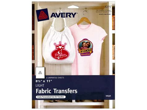 avery iron on transfers polyester avery fabric transfers 8 1 2 x 11 in light 6 pc