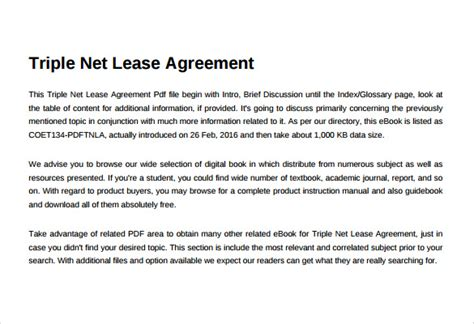 net lease agreement template 8 download free documents