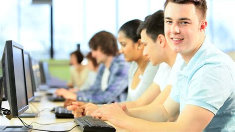computer exam wallpaper multi ethnic happy creative students working on computers