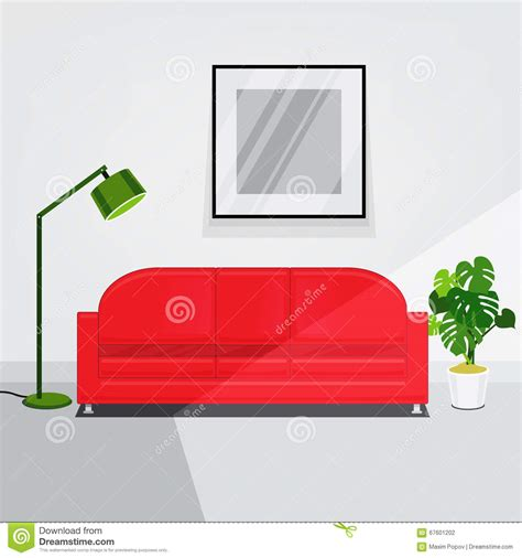 Gray Bedroom Set white walls living room interior with red sofa stock