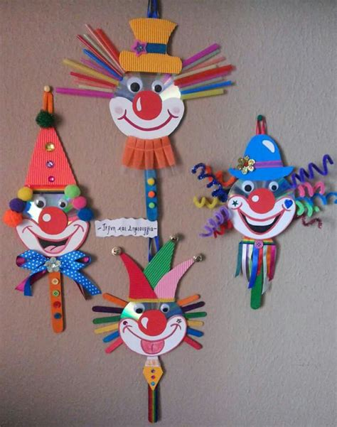 carnival crafts for to make cd clowntjes farsang craft school and