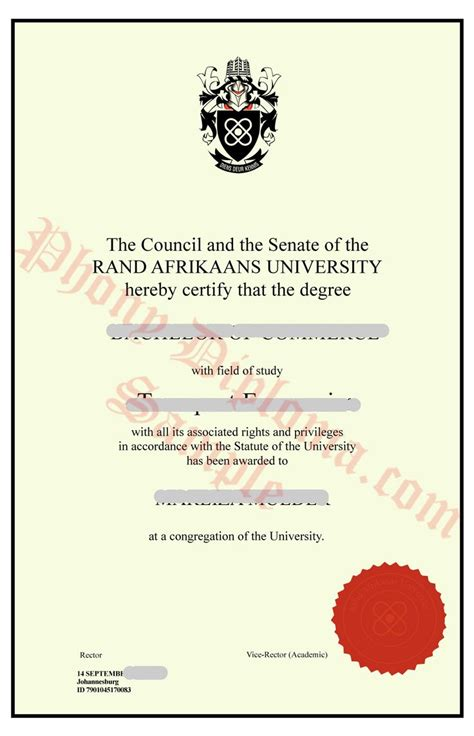 rand afrikaans university africa fake diploma