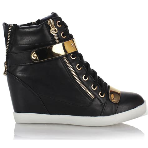 high top boots womens wedge concealed heel high tops platform