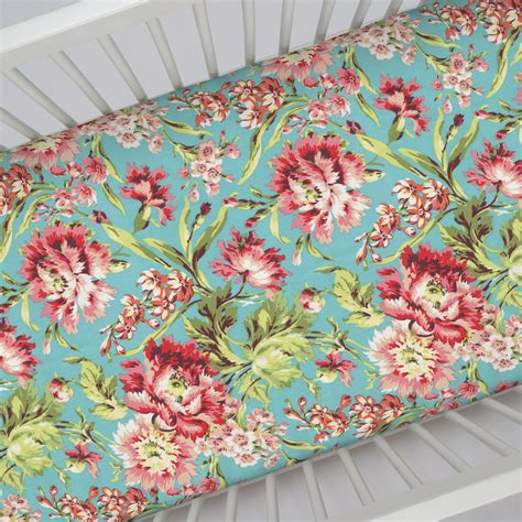 floral bed sheets coral and teal floral crib sheet carousel designs