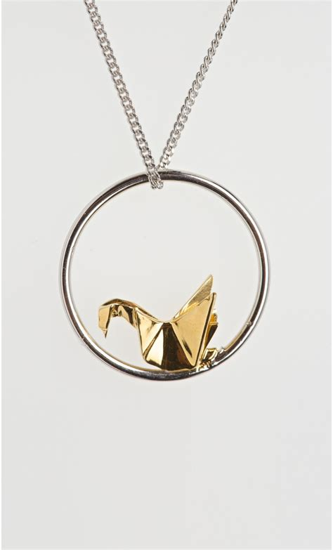 Origami Swan Necklace - solid sterling silver swan mini origami necklace