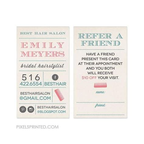 Salon Refer A Friend Card Templates by 1000 Images About Hairstylist Referral Cards On