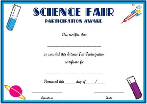 science fair participation certificate template science fair participation certificate 11 free editable