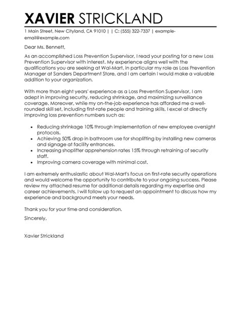 Emt Security Officer Cover Letter by Best Loss Prevention Supervisor Cover Letter Exles Livecareer