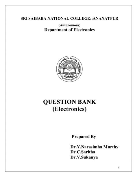 Or Question Bank Question Bank In Electronics
