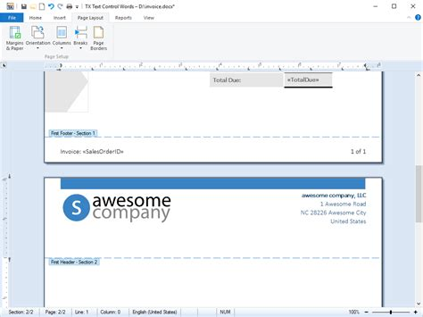 document sections tx text control activex features