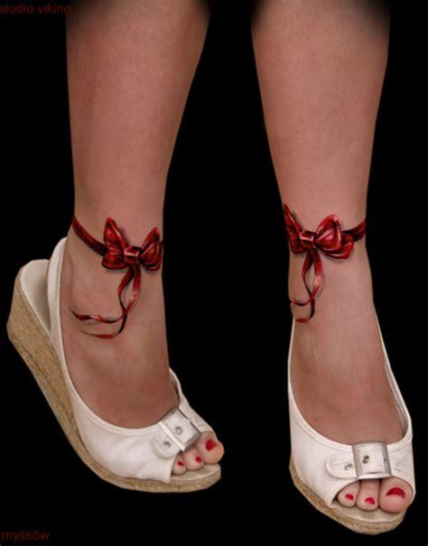 ribbon bow 3d ankle tattoos tattooshunt