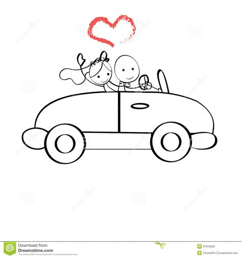 doodle car doodle illustration the and groom in a car