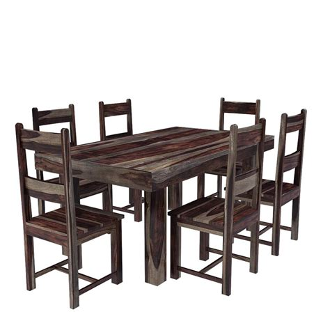 frisco modern solid wood casual rustic dining room table  chair set