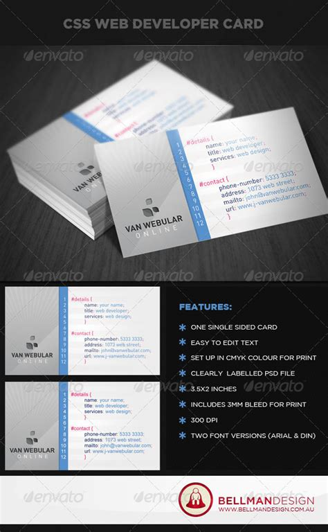 css business card template css web developer graphicriver