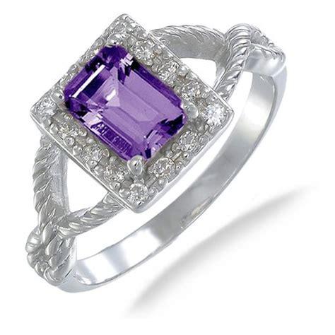 7x5mm 75ct emerald cut purple amethyst engagement ring in