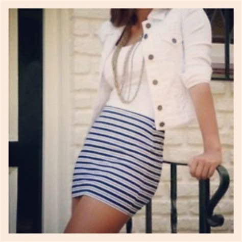 Jaket Sailor Skirt jacket white jacket sailor look pencil skirt tank top
