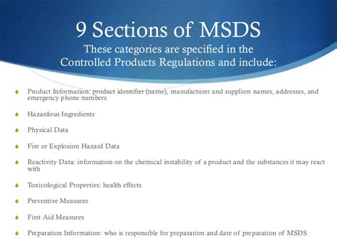 msds required sections whmis online course