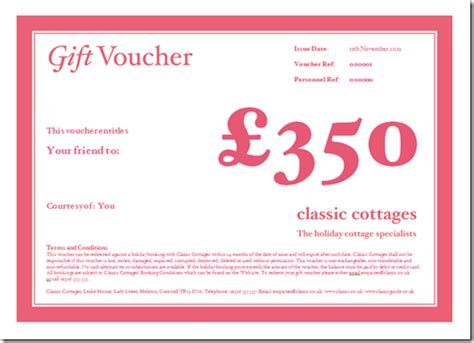 Holiday Cottage Gift Vouchers Classic Cottages Gift Voucher Terms And Conditions Template