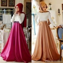 Promo 6965 Gold Maxi Maxi Dress Dress Muslim Murah Baju Muslim M 2018 modest muslim evening dresses kaftan formal lace dubai with sleeves high neck