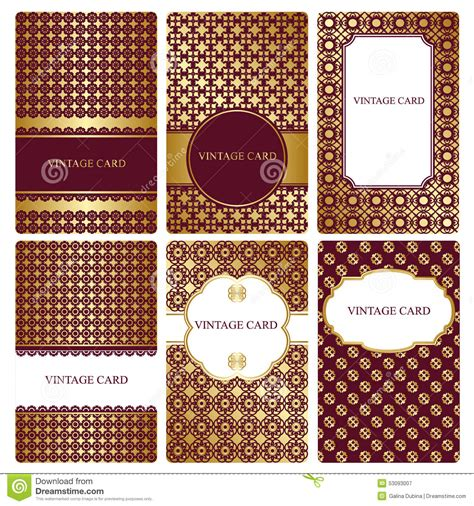 osaa gold card template set of gold business card templates stock vector image
