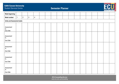 college semester planner free business template