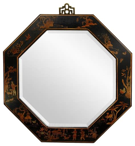 black mirror japan black lacquer octagonal mirror asian wall mirrors by