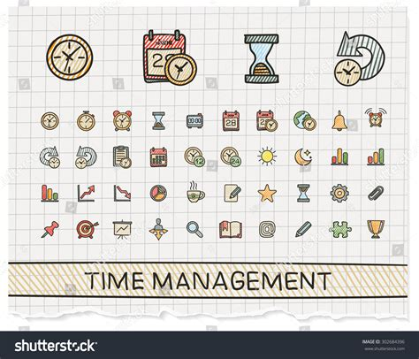 doodle calendar event time management drawing line icons vector doodle