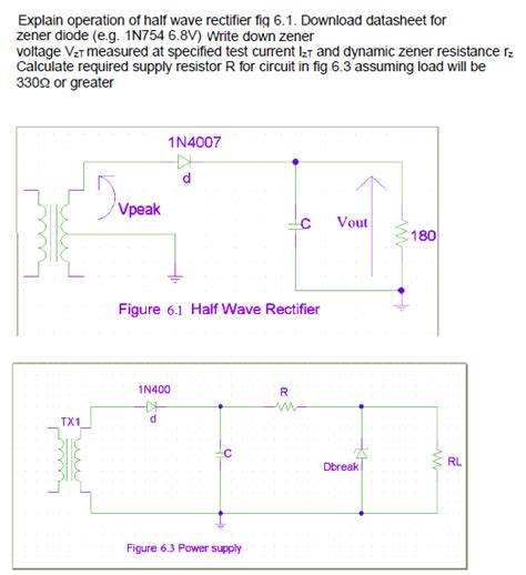 zener diode wave rectifier explain operation of half wave rectifier fiq 6 1 chegg
