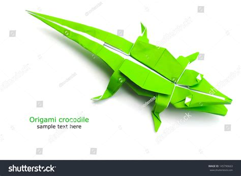 How To Make Crocodile With Paper - origami crocodile stock photo 145790663