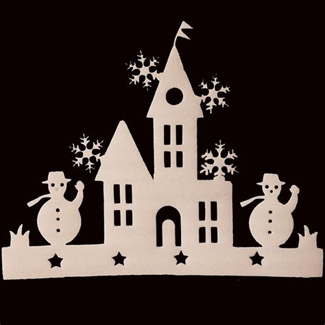 house window decals 2 pieces small house window decals christmas tree ornament snowman sticker decoration