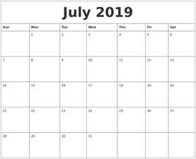 Calendar 2018 July And August July 2019 Calendar