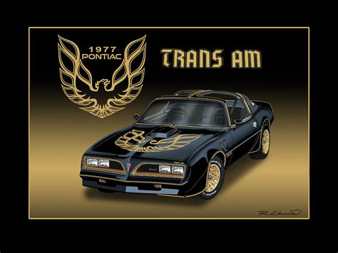 Vintage Home Decor Online by 1977 Pontiac Trans Am Bandit Painting By Rudy Edwards