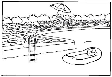 free coloring pages of to children swimming pool