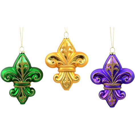 mercury glass mardi gras fleur de lis ornaments set of 3